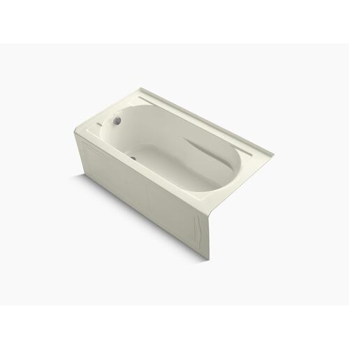 "Biscuit 60"" X 32"" Alcove Bath With Bask Heated Surface, Integral Apron and Left-hand Drain"