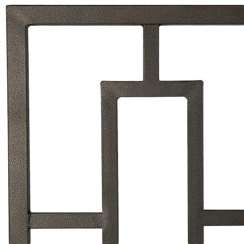 Miami Metal Headboard Panel with Geometric Designed Grill and Squared Tubing, Coffee Finish, King