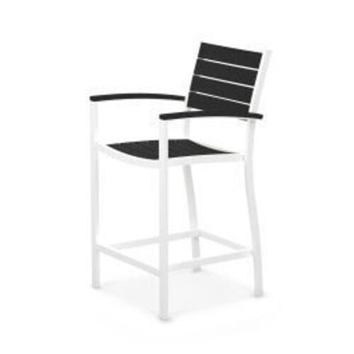Polywood Furnishings - Eurou2122 Counter Arm Chair in Satin White / Black