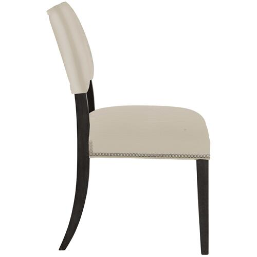 Moore Side Chair in Midnight Black Finishes Available Glacier White (WW1) Midnight Black (BW1) Weathered Greige (GW1) Nailhead Finish Shown #13 Bright Nickel