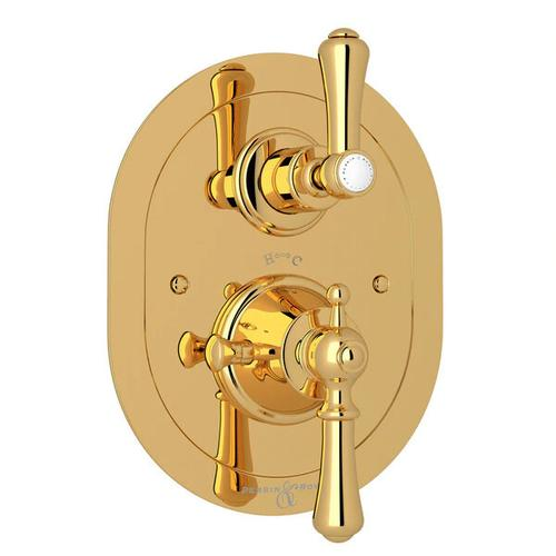 Georgian Era Oval Thermostatic Trim Plate with Volume Control - English Gold with Metal Lever Handle