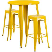 30'' Round Yellow Metal Indoor-Outdoor Bar Table Set with 2 Square Seat Backless Stools