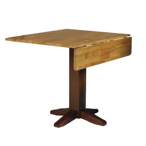 John Thomas Furniture - Square Dropleaf Pedestal Table in Cinnamon & Espresso