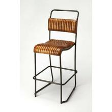 See Details - Pairing a black-finished metal base with a ribbed leather seat, this bar stool brings a bit of sturdy and rustic industrial style to your space, with its curvaceous seat and supple leather it is sure to delight. Cluster several at your kitchen island to gather friends for appetizers or lazy Sunday brunches, or set a pair in the living room with a round-top pub table to create a cozy conversation nook in your entertainment space.