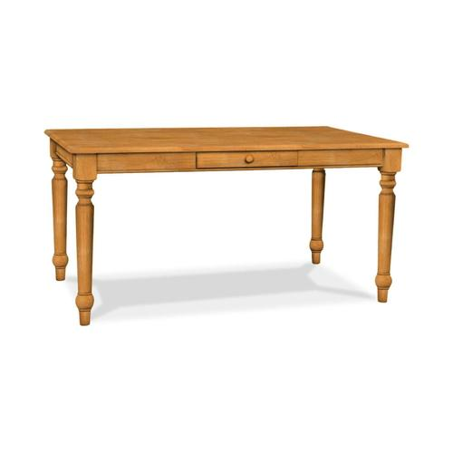 Solid Top Farmhouse Table with Half bullnose edge & one drawer