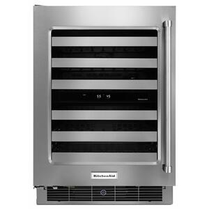 """KitchenAid24"""" Wine Cellar with Glass Door and Metal-Front Racks - Stainless Steel"""
