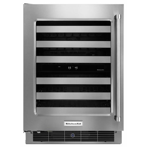 """KitchenAid - 24"""" Wine Cellar with Glass Door and Metal-Front Racks - Stainless Steel"""