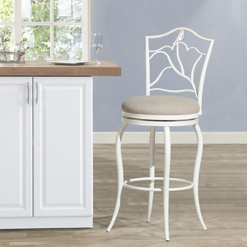 Avienne Swivel Metal Bar Stool, White