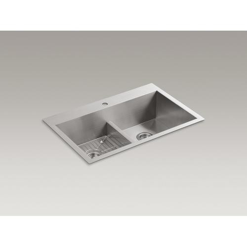 "33"" X 22"" X 9-5/16"" Smart Divide Top-mount/undermount Double-equal Bowl Kitchen Sink With Single Faucet Hole"