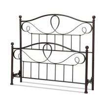 See Details - Sylvania Metal Headboard and Footboard Bed Panels with Elegant Pattern of Curves and Twists, French Roast Finish, Queen