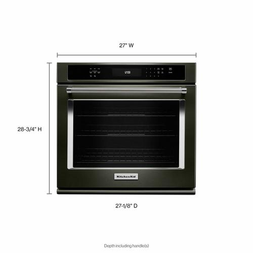 """KitchenAid - 27"""" Single Wall Oven with Even-Heat™ True Convection - Black Stainless Steel with PrintShield™ Finish"""