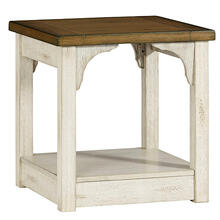 End Table - Oak/Antique White Finish
