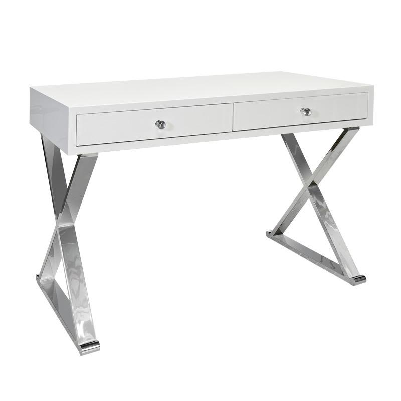 "Looking for A Versatile and Stylish Desk Solution To Work From Home"" You'll Love Jared's Wide Drawers and Crossed Leg, Stainless Steel Base. Finished In Our Signature Glossy White Lacquer Finish."