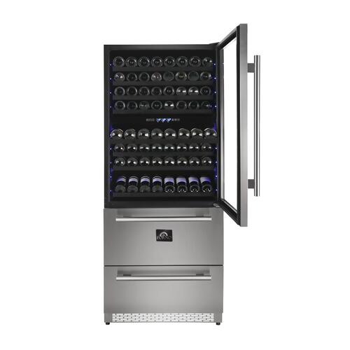 Capraia - Triple Temp Zones - Dual Zone Wine Cooler with two refrigerator drawers