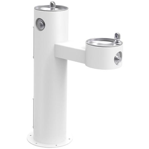 Elkay - Elkay Outdoor Fountain Bi-Level Pedestal Non-Filtered, Non-Refrigerated Freeze Resistant White