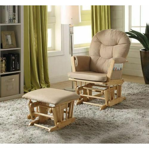ACME Rehan 2Pc Pack Glider Chair & Ottoman - 59332 - Taupe Microfiber & Natural Oak