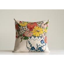 """See Details - 20"""" Square Cotton Pillow w/ Blue & White Vase Embroidery"""