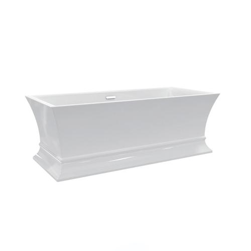 """Thayer 67"""" Acrylic Tub with Integral Drain and Overflow - White Powder Coat Drain and Overflow"""