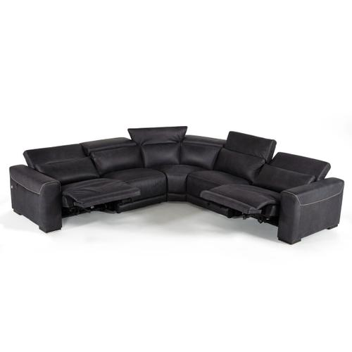 Gallery - Estro Salotti Thelma - Italian Modern Black Leather Sectional Sofa with Recliners