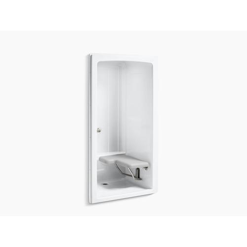 "White 45"" X 37-1/4"" X 84"" One-piece Barrier-free Transfer Commercial Shower Stall With Brushed Stainless Steel Grab Bars and Right-hand Seat"