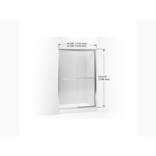 """Crystal Clear Glass With Anodized Brushed Bronze Frame Sliding Shower Door, 70-5/16"""" H X 44-5/8 - 47-5/8"""" W, With 1/4"""" Thick Crystal Clear Glass"""