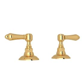 Set of Hot and Cold 3/4 Inch Sidevalves - Italian Brass with Metal Lever Handle