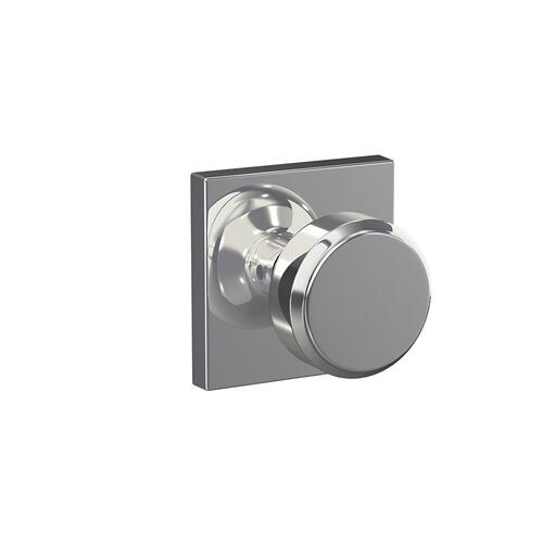 Custom Bowery Non-Turning Knob with Collins Trim - Bright Chrome