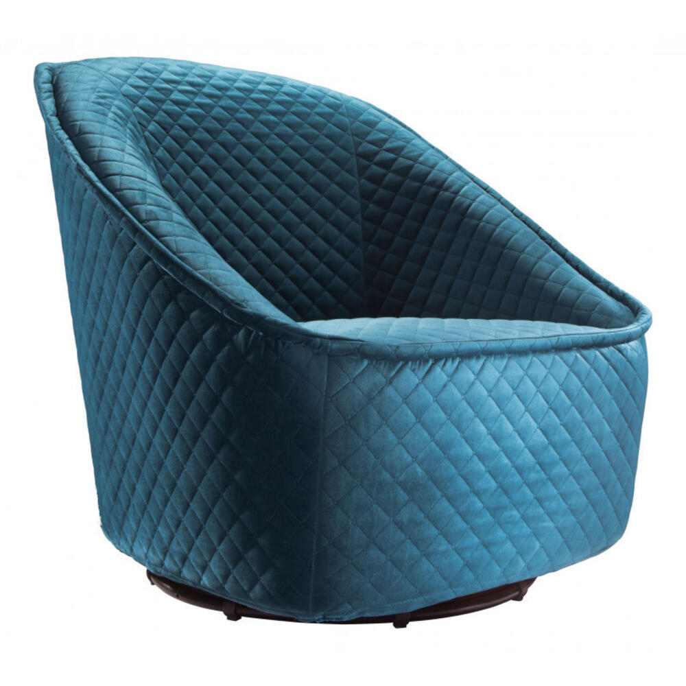 Pug Swivel Chair Quilted Aquamarine