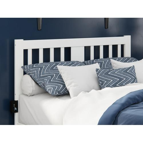 Atlantic Furniture - Tahoe Full Headboard with USB Turbo Charger in White