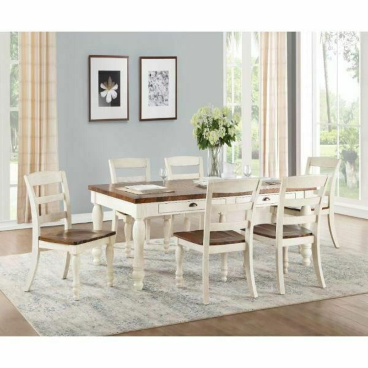 ACME Britta Dining Table - 71770 - Walnut & White Washed