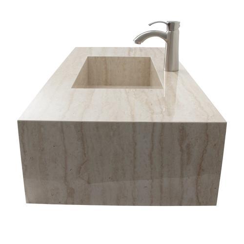 "Precious 25"" Wall-Hung Sink with Invisible Drain - Travertino Ivory"