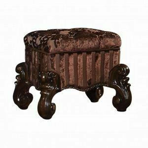ACME Versailles Vanity Stool - 21108 - Fabric & Cherry Oak