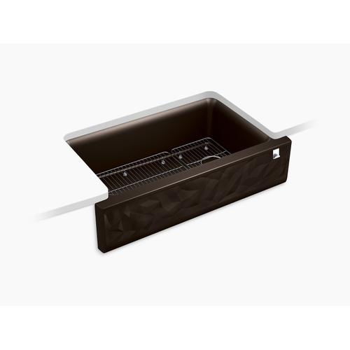 Matte Brown Undermount Single-bowl Farmhouse Kitchen Sink With Faceted Design