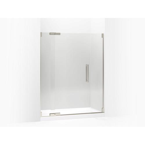 """Crystal Clear Glass With Brushed Nickel Frame Pivot Shower Door, 72-1/4"""" H X 57-1/4 - 59-3/4"""" W, With 3/8"""" Thick Crystal Clear Gla"""