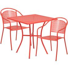 28'' Square Coral Indoor-Outdoor Steel Patio Table Set with 2 Round Back Chairs
