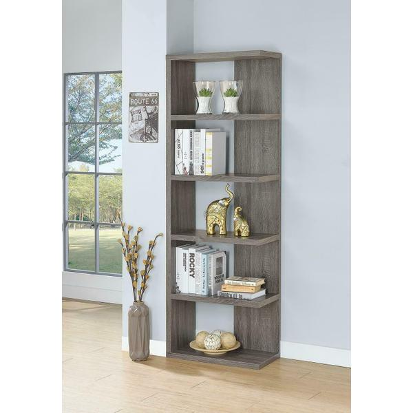 See Details - Contemporary Weathered Grey Five-shelf Bookcase