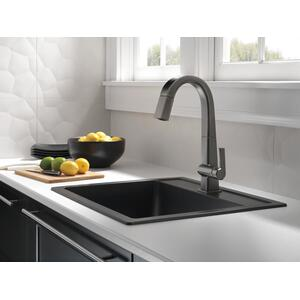 9993ksdst In Black Stainless By Delta Faucet Company In New York City Ny Black Stainless Single Handle Pull Down Bar Prep Faucet