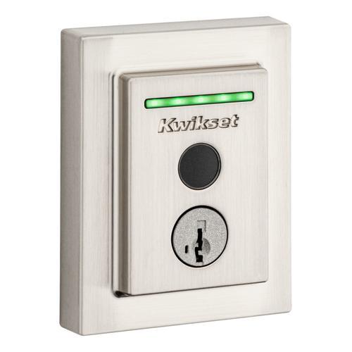 Kwikset - Halo Touch Contemporary Fingerprint Wi-Fi Enabled Smart Lock - Satin Nickel