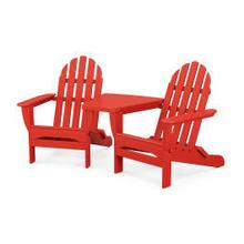 View Product - Classic Folding Adirondacks with Connecting Table in Sunset Red