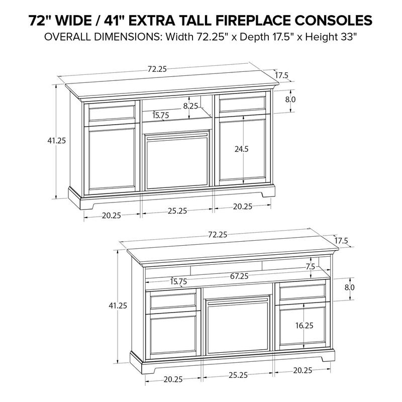 FT72D Extra Tall Fireplace Custom TV Console