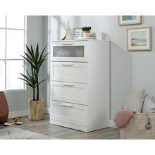 White 4-Drawer Dresser with Glass Panel