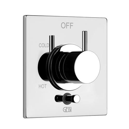 """Gessi - TRIM PARTS ONLY External parts for Pressure balance with 2-way diverter 1/2"""" connections Single Backplate Requires in-wall rough valve 09274"""