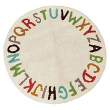 """Product Image - 38"""" Round Woven Cotton Tufted Alphabet Rug, Multi Color"""