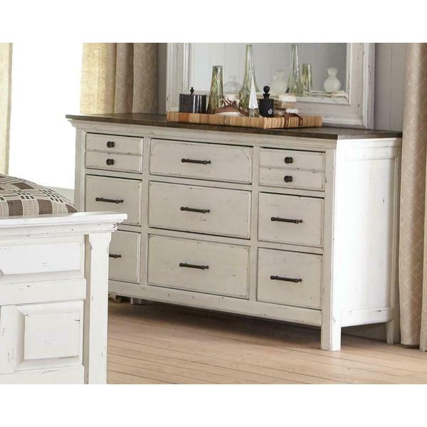 See Details - Traditional Rustic Latte and Vintage White Dresser