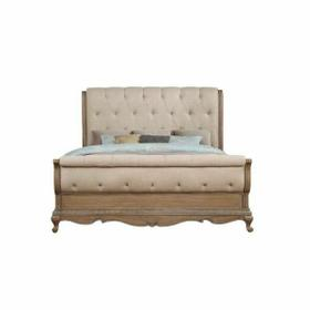 ACME Teagan Queen Bed - 22090Q - Traditional - Fabric, Wood (Poplar), Wood Veneer (Pine), Poly-Resin, MDF - Fabric and Oak