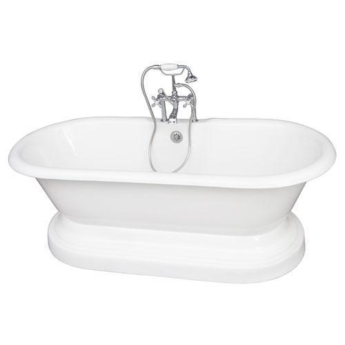 """Duet 67"""" Cast Iron Double Roll Top Tub Kit - Polished Chrome Accessories"""