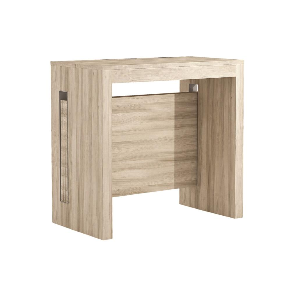 The Erika Extendable Console In Light Oak Wood Grain Melamine