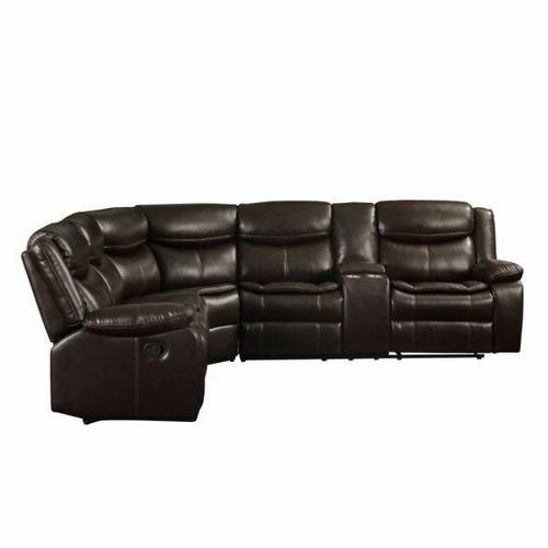 ACME Tavin Sectional Sofa (Motion) - 52545 - Contemporary - Leather-Aire Match, Frame: Wood (Hardwood+Ply), Foam (D); Metal Reclining Mechanism - Espresso Leather-Aire Match