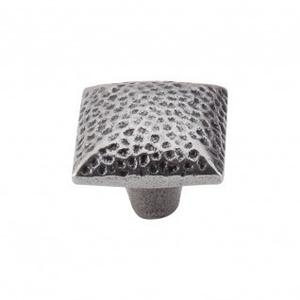 Square Iron Knob Dimpled 1 3/8 Inch - Cast Iron