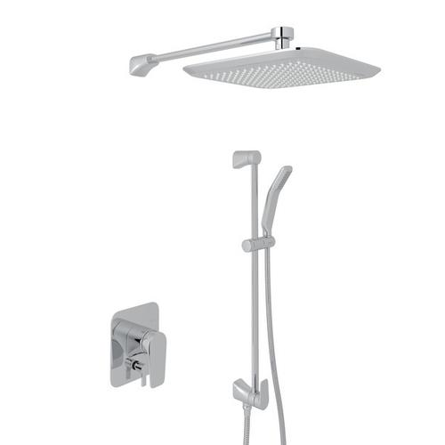 Polished Chrome Perrin & Rowe Hoxton Pressure Balance Shower Package with Hoxton Metal Lever